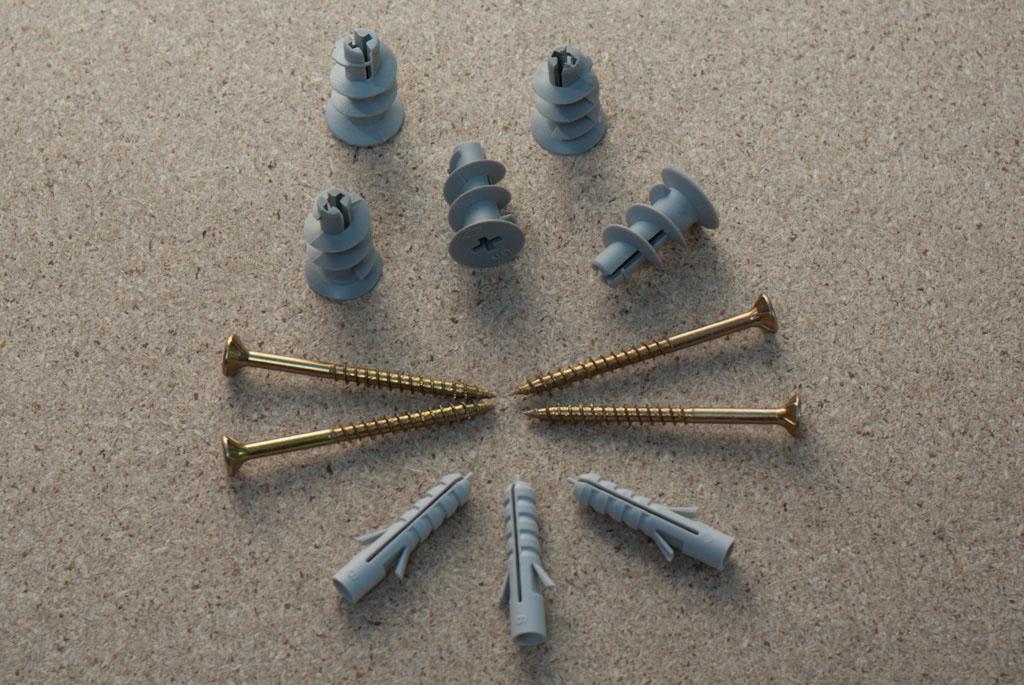 Dowels, screws, drywall dowels