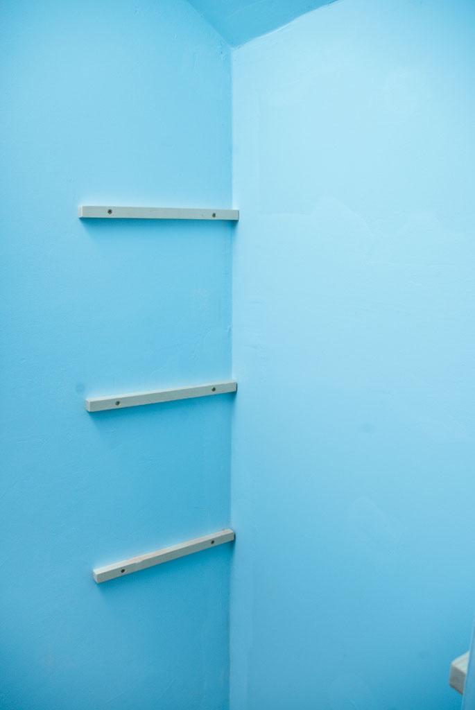 Shelf brackets installed