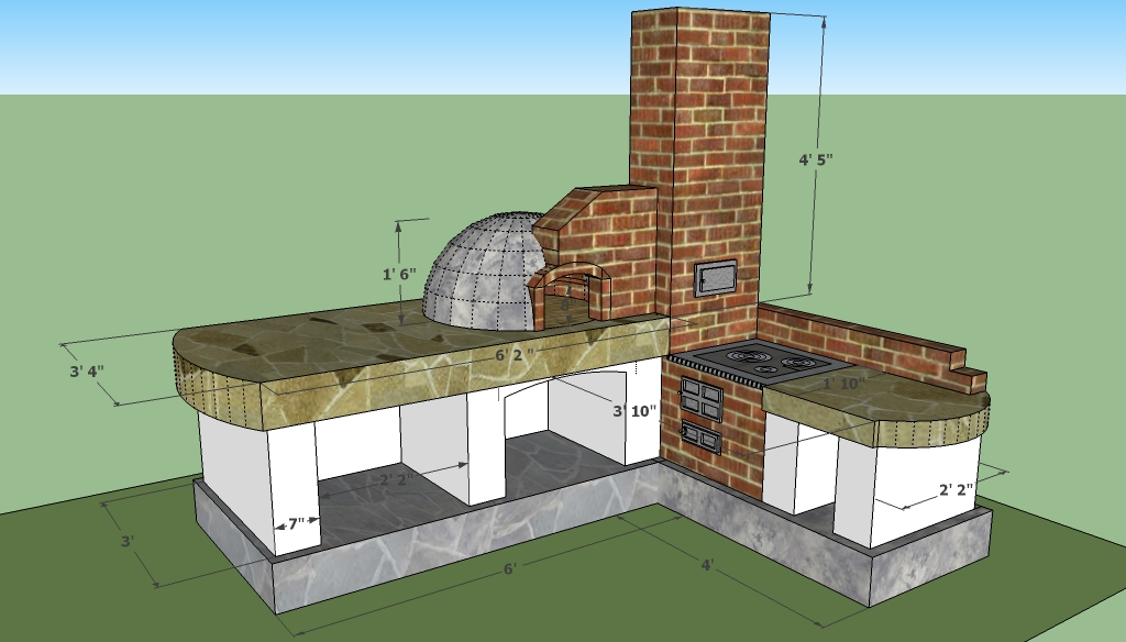 Brick barbeque plans howtospecialist how to build for Outdoor kitchen blueprints