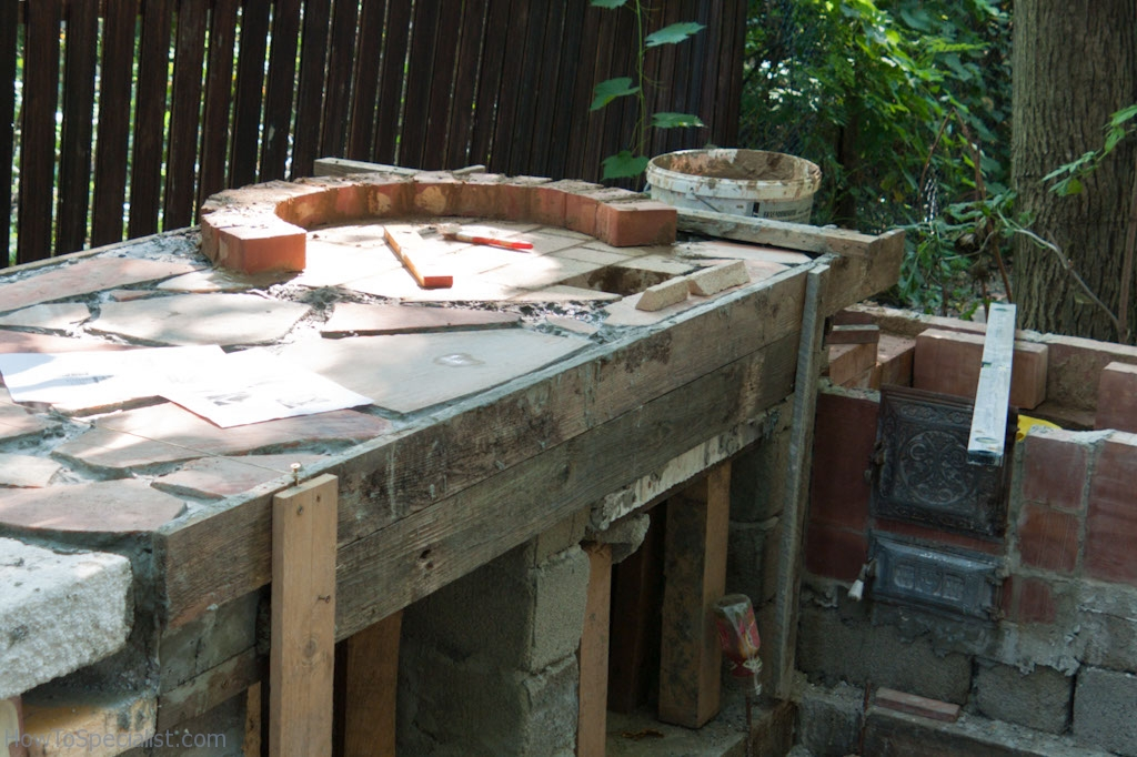 Making brick pizza oven