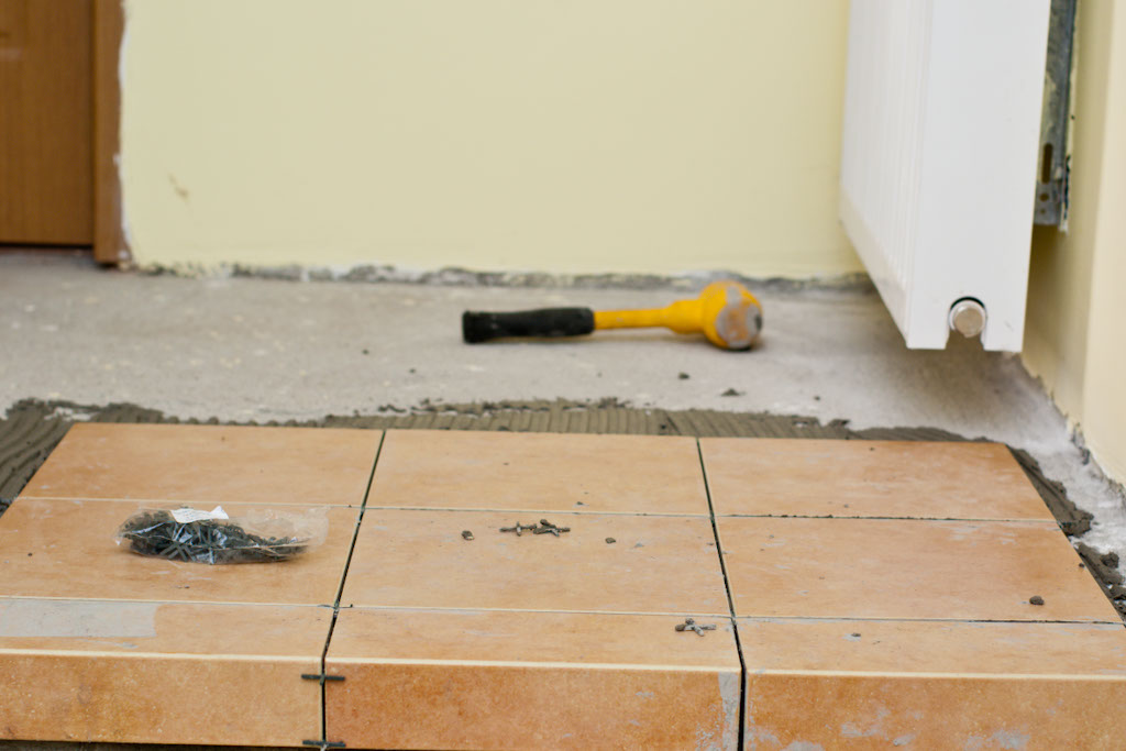 Installing tile on concrete floor