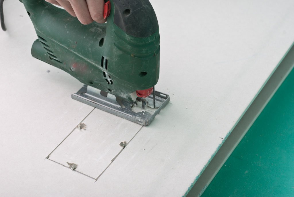 Cutting Square Hole In Drywall With Jigsaw