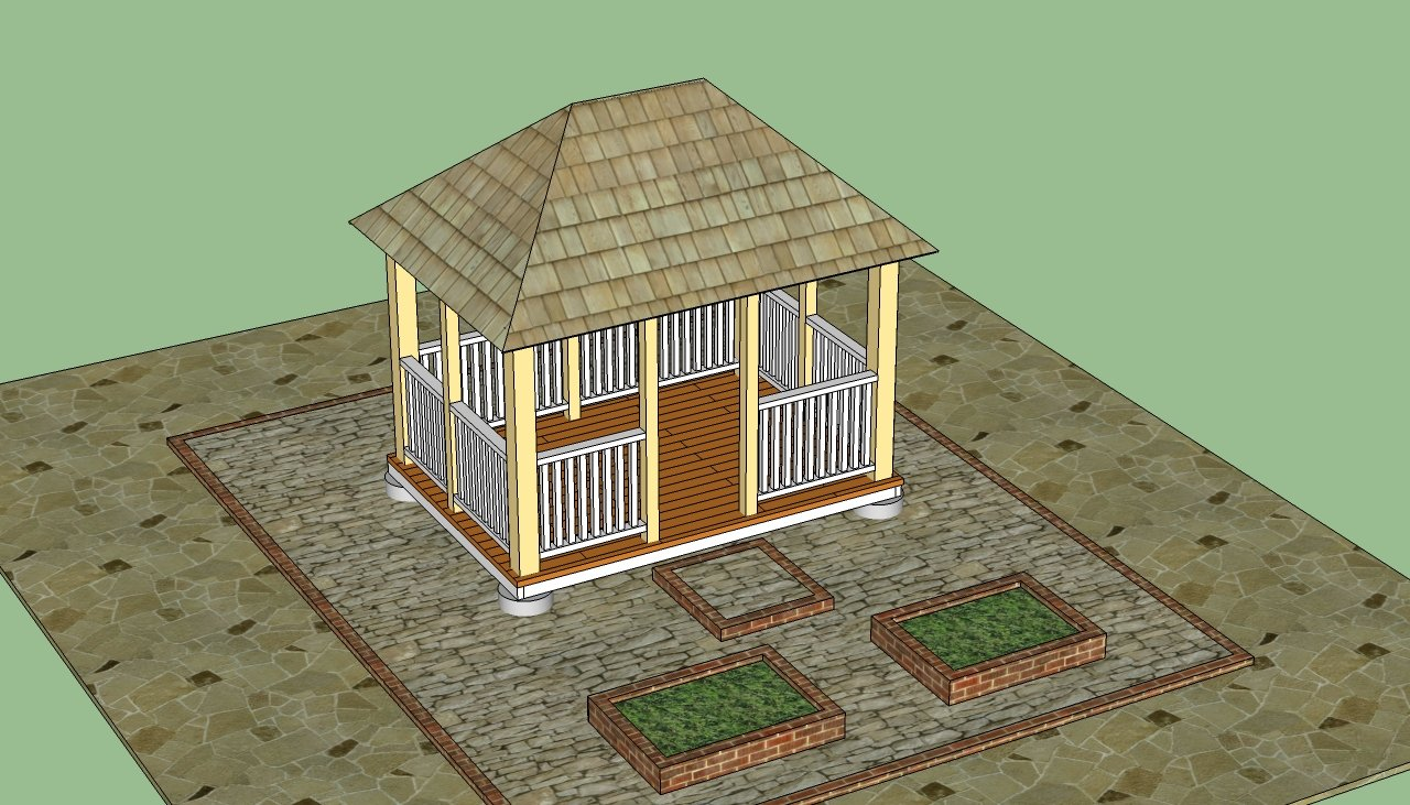 Woodwork gazebo construction plans pdf plans for Gazebo house plans