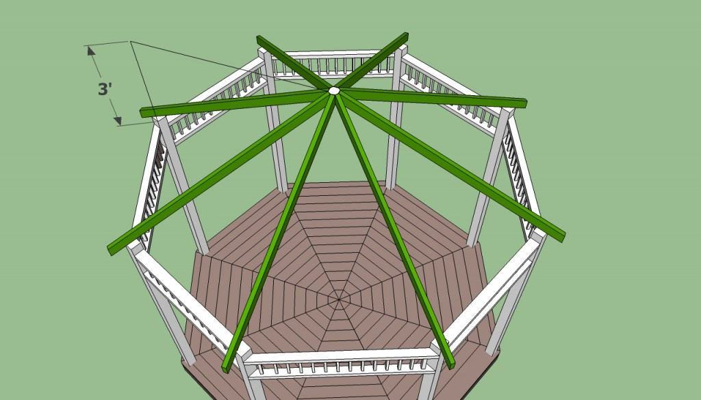 Gazebo plans free howtospecialist how to build step for Hexagonal roof framing