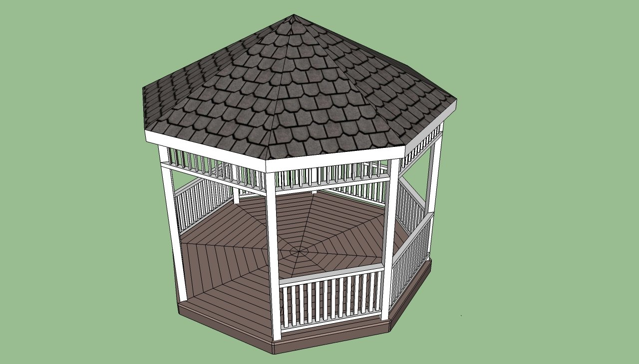 Gazebo plans free howtospecialist how to build step for Simple gazebo plans