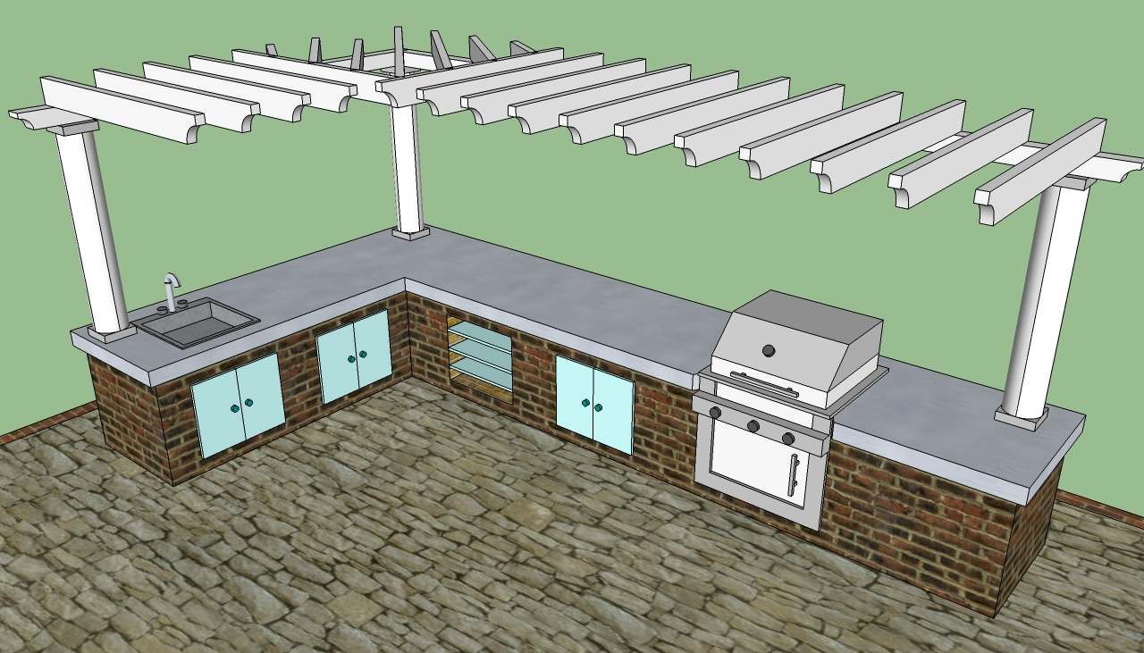 Outdoor kitchen plans free howtospecialist how to for Outdoor kitchen pergola ideas