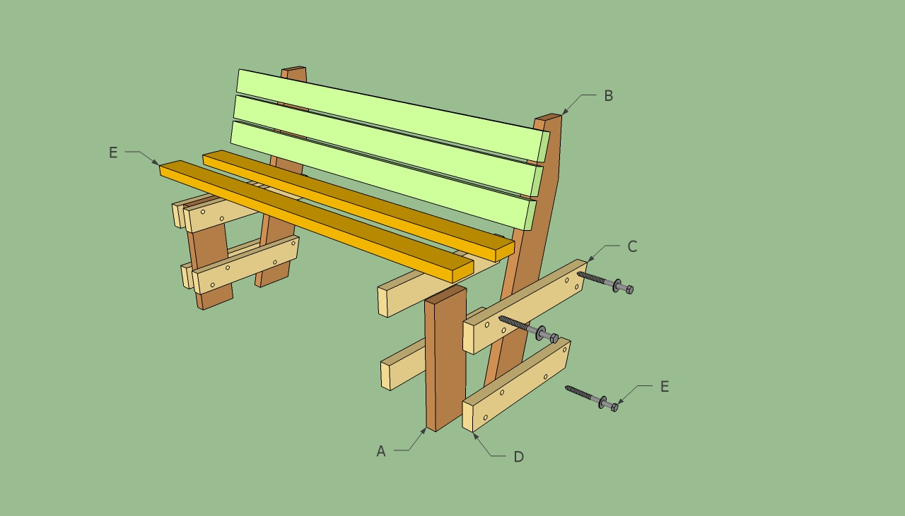 Free garden bench plans howtospecialist how to build for Step by step to build a house yourself