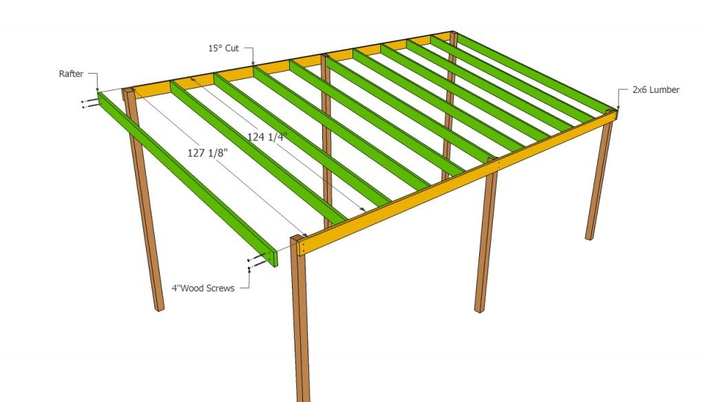 Wooden carport plans howtospecialist how to build for Lean to style house plans