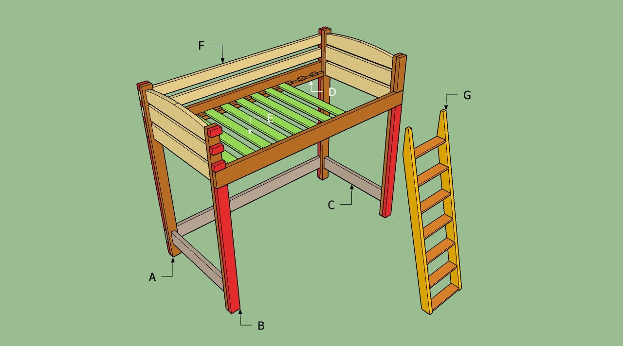 Bunk bed with stairs and desk plans - Building A Loft Bed With Desk