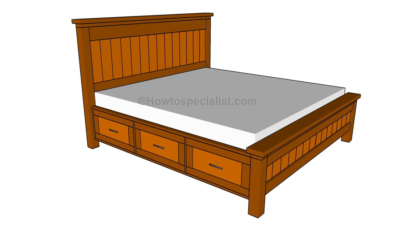 Diy king bed frame plans - How To Build A Bed Frame With Drawers