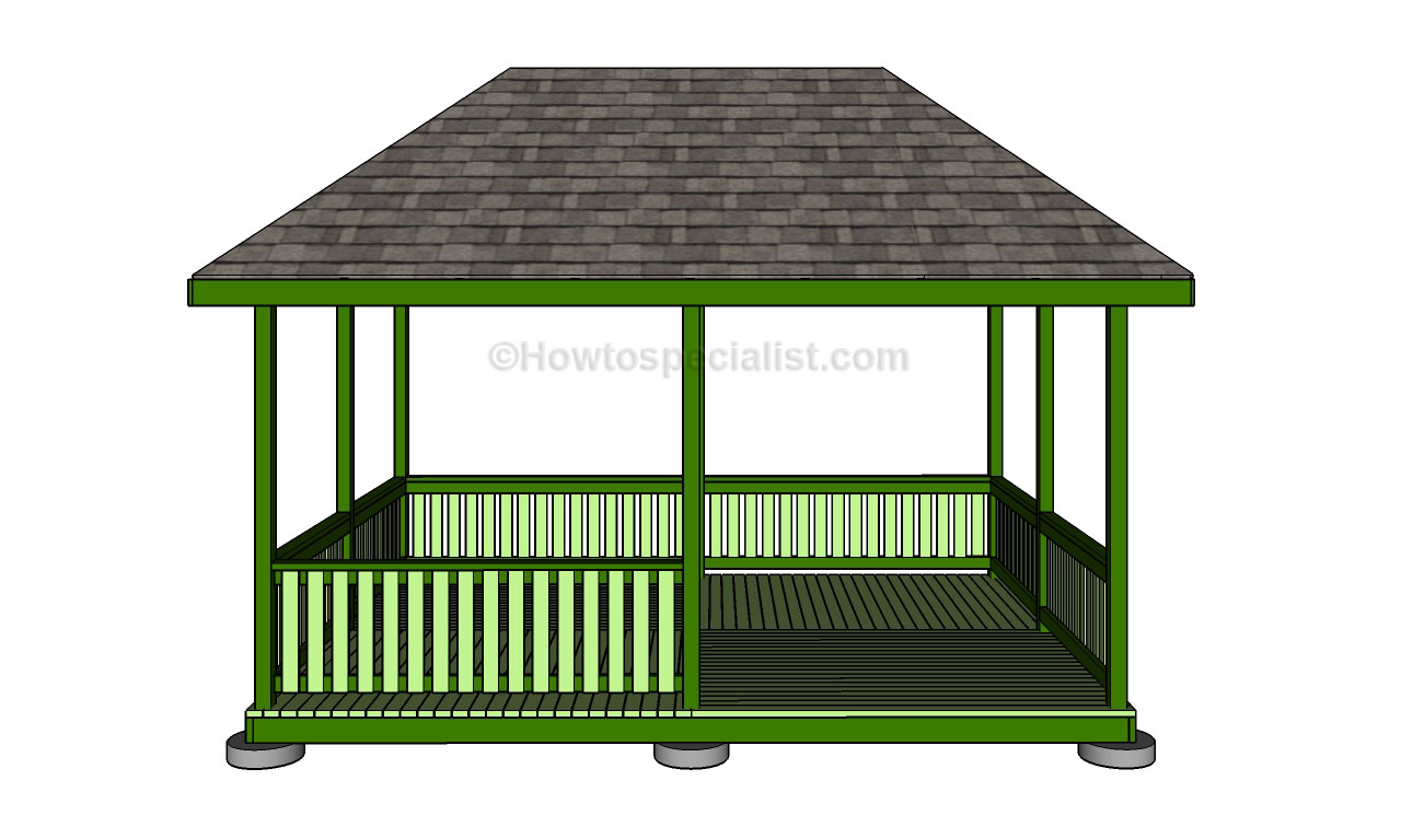 Square gazebo plans howtospecialist how to build step for Simple gazebo plans