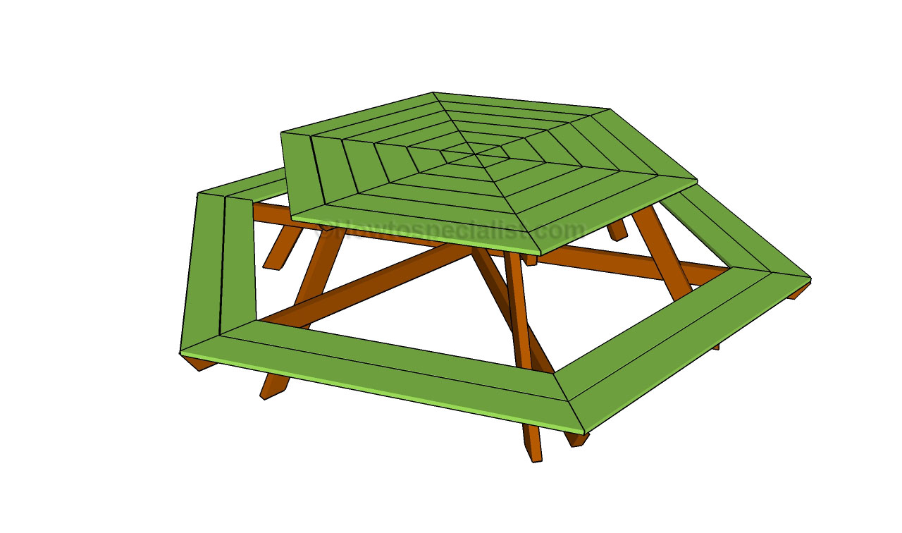 Woodwork Hexagon Picnic Table Plans Build PDF Plans