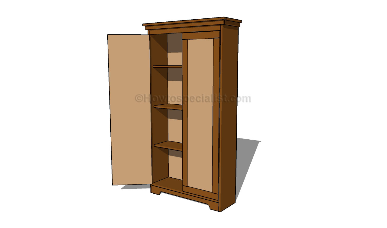 How to build an armoire wardrobe howtospecialist how to build step by step diy plans for Wardrobe cabinet design woodworking plans