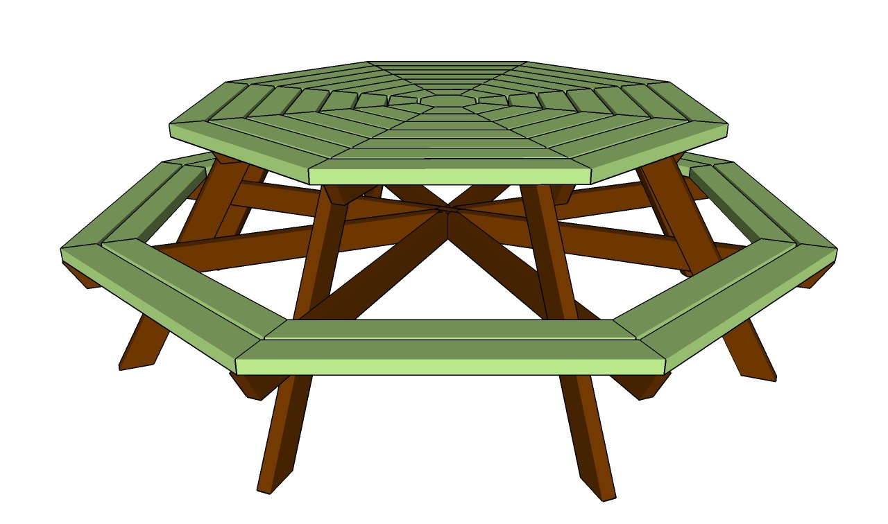 Custom Beginner: Detail Composite octagon picnic table plans