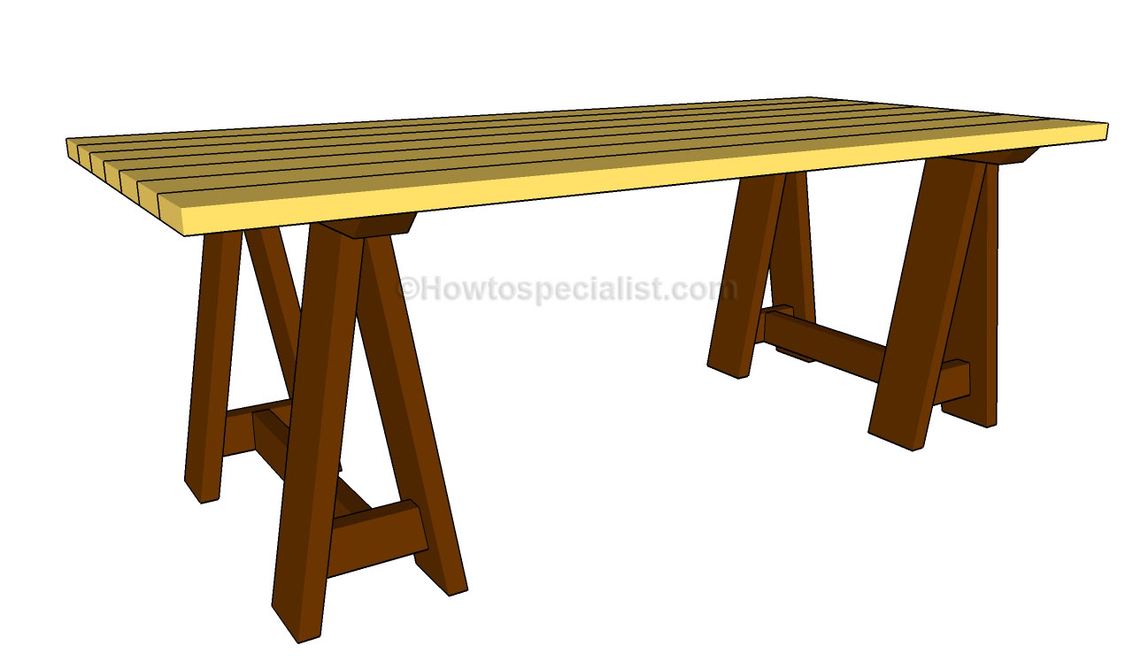 How to build a sawhorse table | HowToSpecialist - How to Build, Step ...