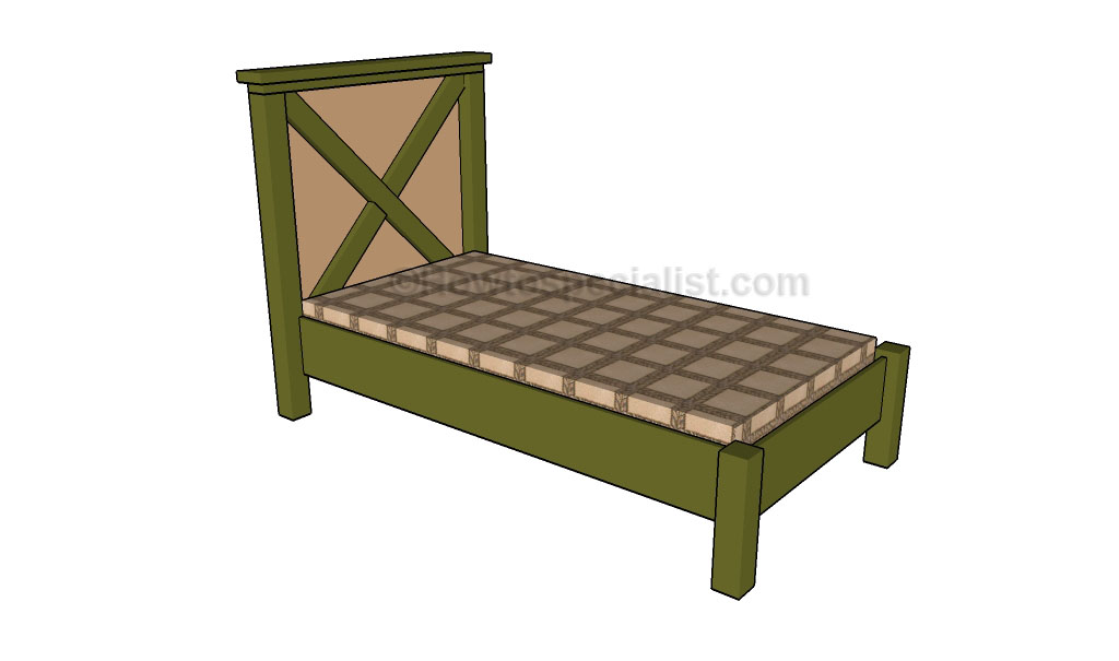 Twin Size Bed Frame Plans | HowToSpecialist - How to Build, Step by Step DIY Plans