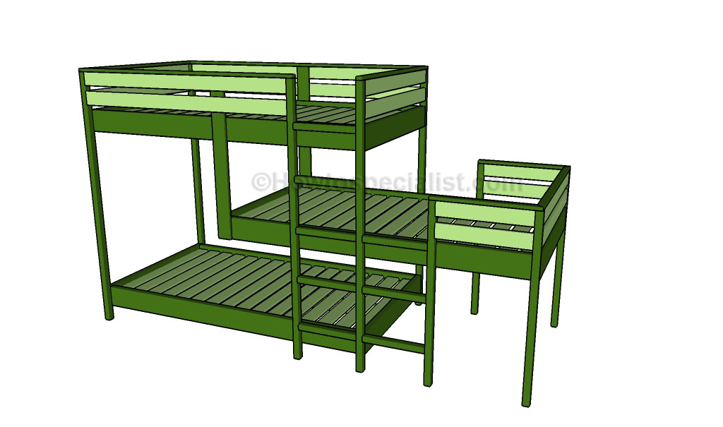 Triple Bunk Bed Plans Howtospecialist How To Build Step By Step Diy Plans