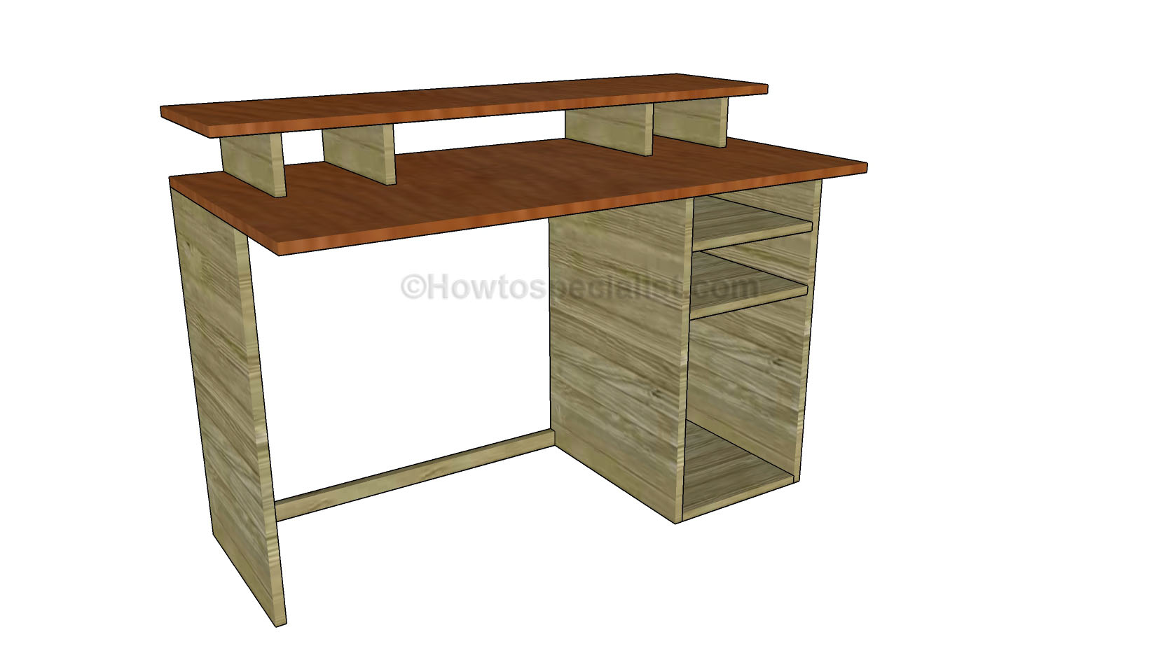 Free Computer Desk Plans | HowToSpecialist - How to Build, Step by ...