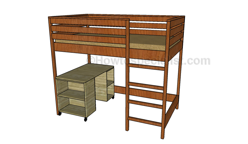 Plans for loft bed with desk quick woodworking projects for Bunk bed woodworking plans