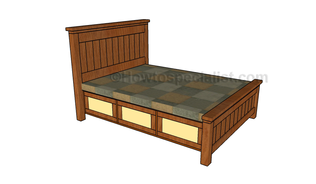 Luxury Queen size storage bed plans