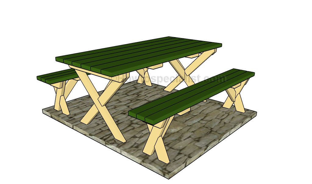 A Picnic Table With Separate Benches