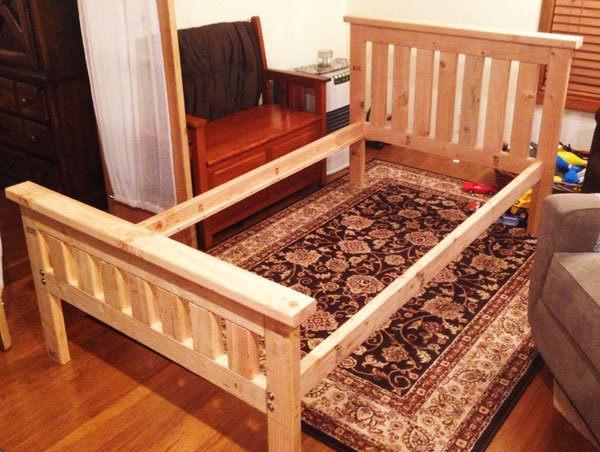 Awesome I used eight foot boards and two foot boards One modification I made to the bed bed frame plans is to add a toddler rail to prevent the