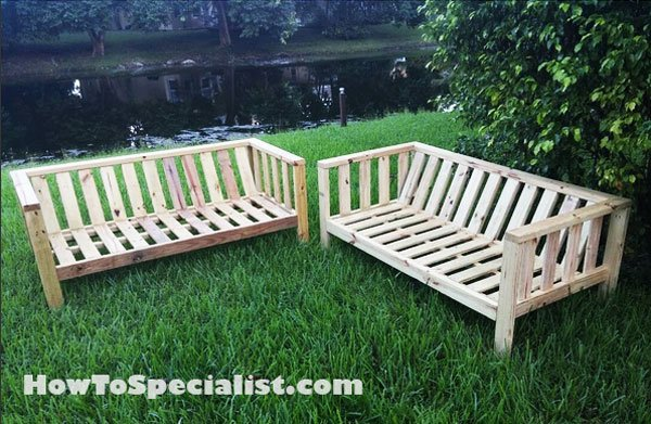 Diy outdoor sofa howtospecialist how to build step by for Outdoor sofa plans