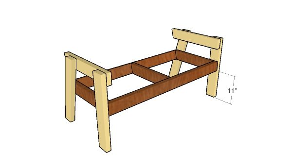 Assembling the garden bench frame