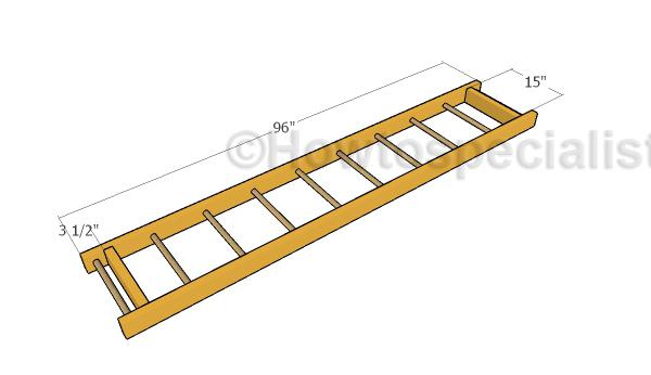 Assembling the monkey bars frame