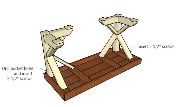 Assembling the trestle desk
