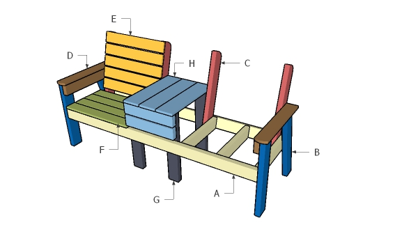 Building an outdoor double chair bench