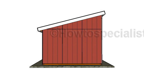 Loafing shed plans - Side view