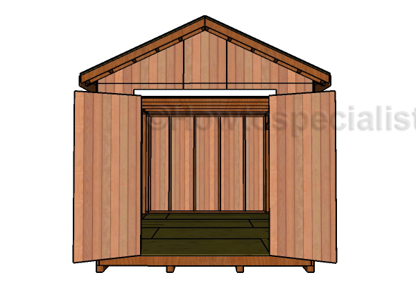 10x16 Shed Plans - Front View