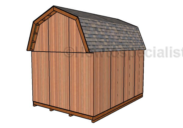 12x16 Gambrel Shed Plans - Back view