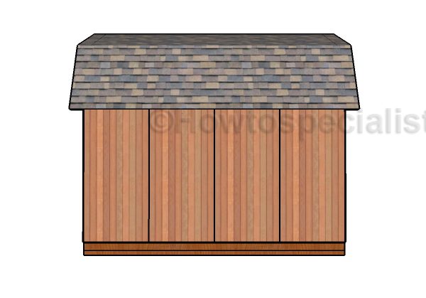 12x16 Gambrel Shed Plans - Side view