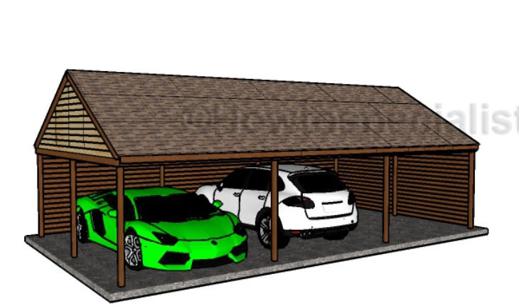 triple carport plans howtospecialist how to build step by step diy plans. Black Bedroom Furniture Sets. Home Design Ideas