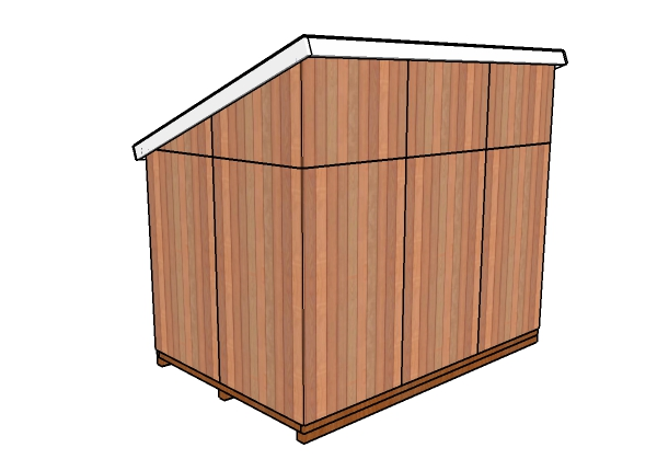 8x12 Lean to Shed Plans - Back view