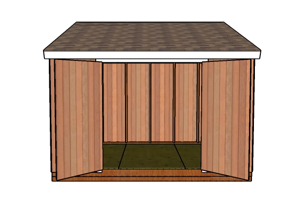8x12 Lean to Shed Plans - Open doors