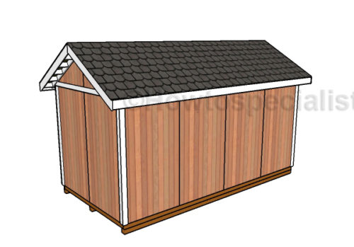 8x16 Gable Shed Plans - Back View