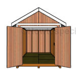 8x16 Gable Shed Plans - Open Doors