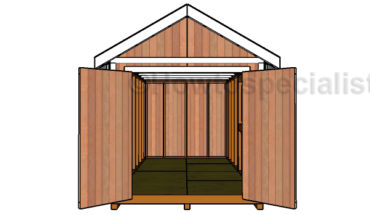 8x16 Gable Shed Plans - Open Doors