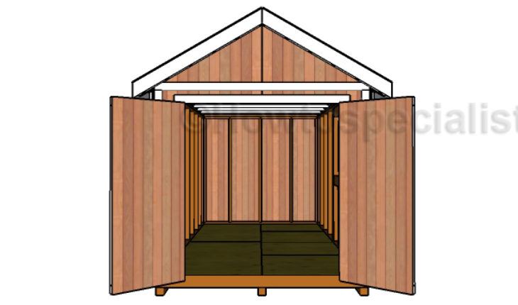 Double doors plans for the 8x16 shed howtospecialist for Double door shed plans