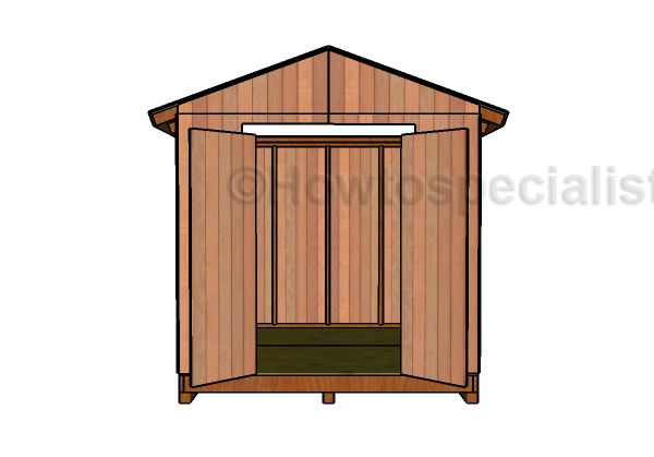 8x8 Garden Shed Plans - Front View