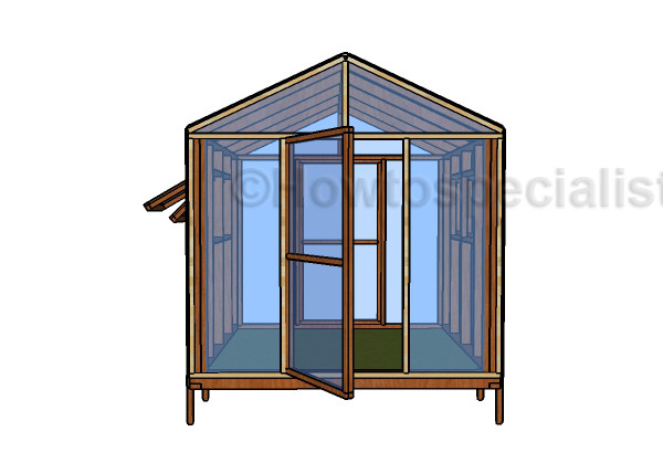 8x8 Greenhouse Plans - Front viewHTS