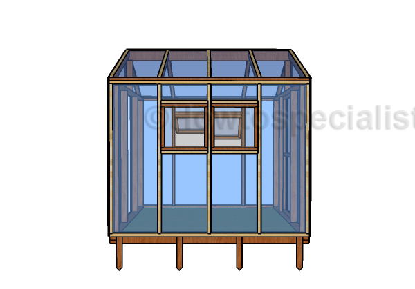 8x8 Greenhouse Plans - Side view