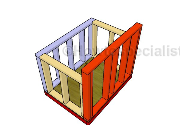 Assembling the dog house frame