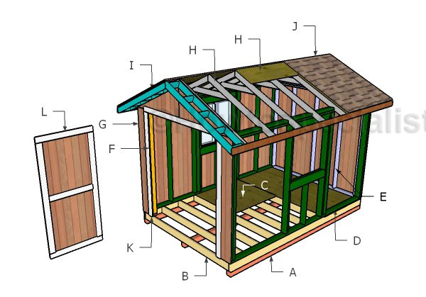 8x12 Gable Shed Roof Plans | HowToSpecialist - How to Build, Step by on barn style sheds with loft, yard sheds with loft, 16x20 cabin plan with loft, 14x16 cabin with a loft, one room cabin with loft, 12x12 cabin with sleeping loft,