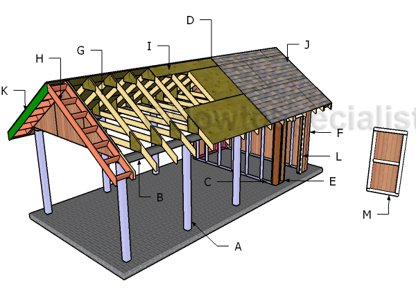 Single carport with storage roof plans howtospecialist for Rv storage plans