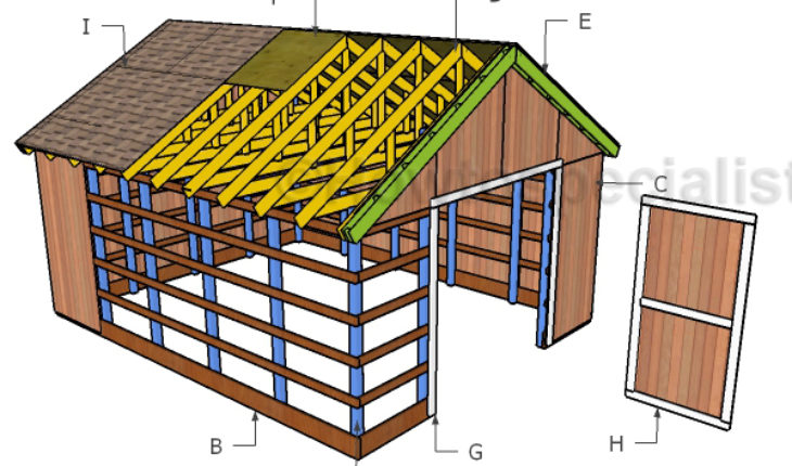 16x20 pole barn roof plans howtospecialist how to for How to build a pole shed step by step
