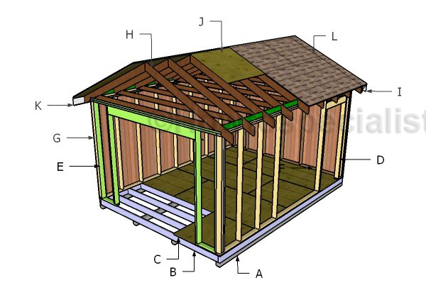12x16 Gable Shed Roof Plans Howtospecialist How To Build Step